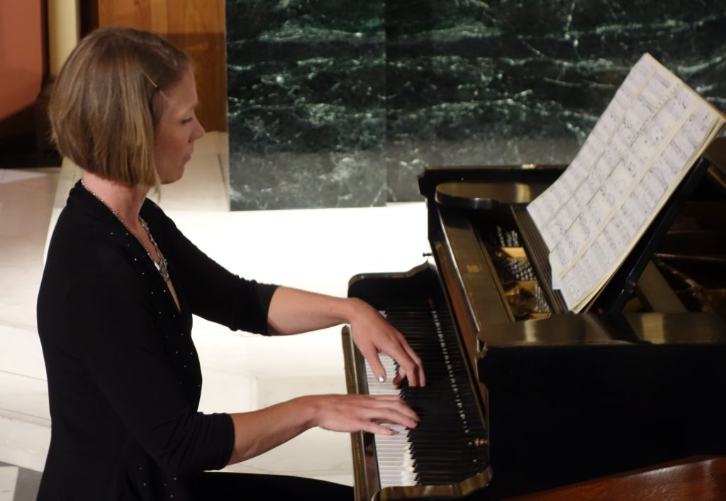 Pianist Marianne Parker in performance