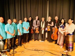 Cambodian mahori ensemble with the Crossing Borders Music string quartet and composer Dr. Chinary Ung
